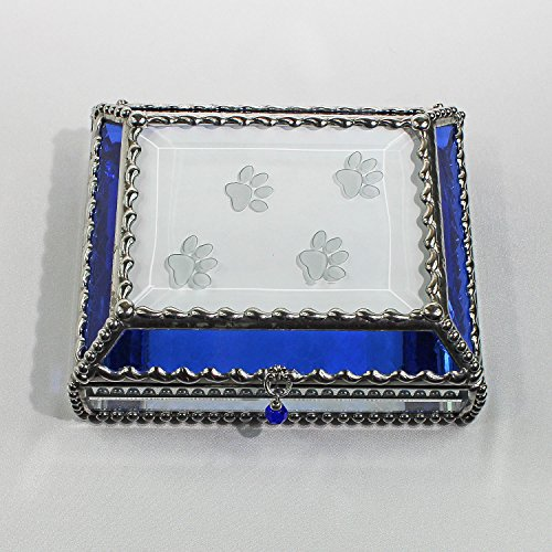 Paw Prints Stained Glass Jewelry Box, Presentation Box, Keepsake Box, Glass Jewels, Swarovski Crystals, USA Made by Glass Treasure Box