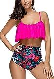Womens Swimsuits Bikini Set High Waisted Ruffled Padded Bathing Suits Vintage Split Swimwear, Rose Red, Large