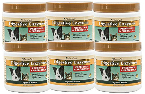 NaturVet DIGESTIVE ENZYMES & PROBIOTICS Healthy Digestion Dogs & Cats 8oz 6 PACK by NaturVet