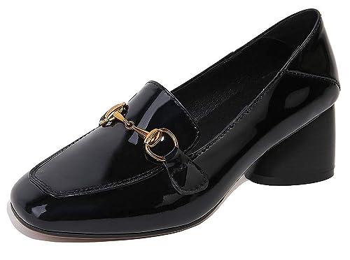 SimpleC Cuero clásico Hebilla Mocasines Zapatos de la Corte con 5.5cm de Altura del talón para Mujeres: Amazon.es: Zapatos y complementos