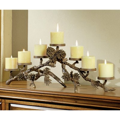 SPI Home Pinecone Mantlepiece Aluminum Candelabra by SPI Home