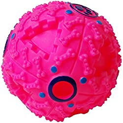 """PetLike Smart Interactive Food Dispensing IQ Treat Ball, Pet Chew Toy, Dog Toys Ball and Treat Dog Toy, Pet Feeder Toy (4.7"""", Pink)"""