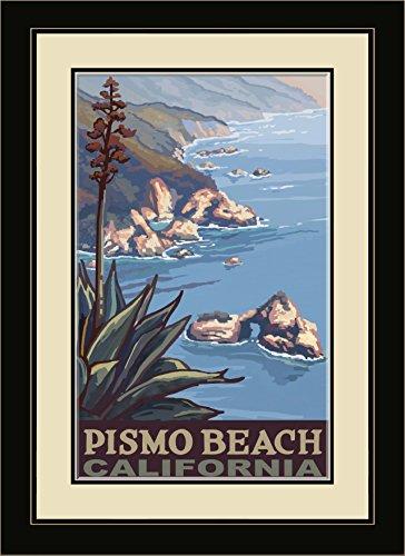 Northwest Art Mall PAL-6420 FGDM CL Pismo Beach California Coastline Framed Wall Art by Artist Paul A. Lanquist, 16 x - Coastline Mall