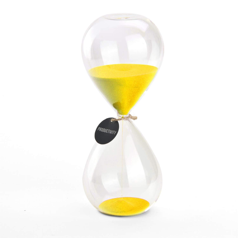 Hourglass Sand Timers - SWISSELITE Biloba Hourglass Sand Timer Inspired Glass/Home, Desk, Office Decor (Black Wave color,60 mins) Shanghai LG IMP&EXP CO. LTD 040_1