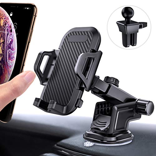 andobil Car Phone Mount, Super Strong Phone Holder for Car Dashboard Air Vent Windshield, Washable Suction Cup & Sticky Gel Pad, Compatible for iPhone X/Xs/8 Plus/8/7 Plus/7/6, Galaxy S9/S8 and More