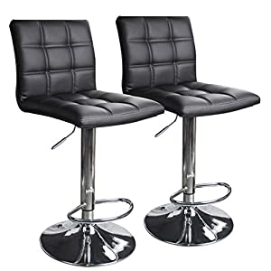Leopard Adjustable Swivel Bar Stools Hydraulic Chair Bar Stools, Set of 2