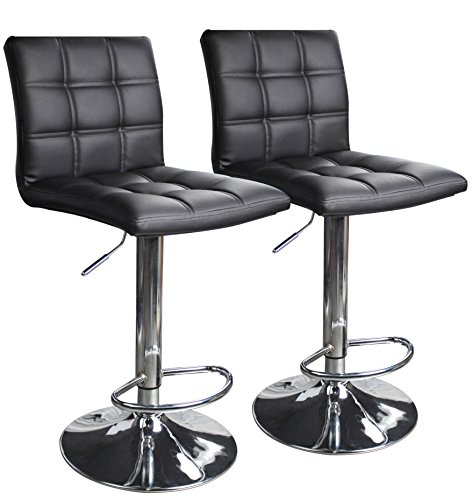 Modern Square PU Leather Adjustable Bar Stools With Back,Set of 2,Counter Height Swivel Stool by Leopard (Black) ()