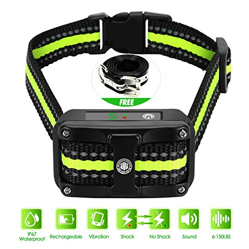 - Bark Collar [ Newest 2019 Upgraded ] Rechargeable Shock Training Collar with IP67 Waterproof and Smart Detection Module w/Triple Anti Barking Modes: Beep/Vibration/Shock for Small/Medium/Large dogs