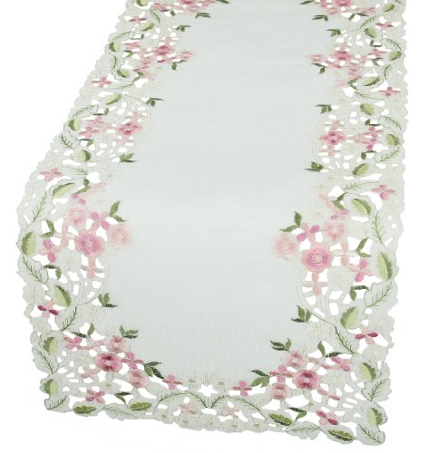 (Xia Home Fashions Fairy Garden Sheer Embroidered Cutwork Spring Table Runner, 16 by 34-Inch)
