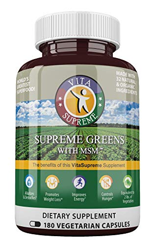 Supreme Greens with MSM Capsules (180 Capsules): The Original Green Superfood (Over 1 Million Sold), 39 Vegetables, Herbs, Grasses & Sprouts, Made in USA