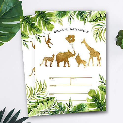 (Mocsicka Safari Jungle Birthday Invitations Jungle Gold Aniamls Baby Shower Birthday Party Invite, 20 Fill in Invitations and Envelopes)