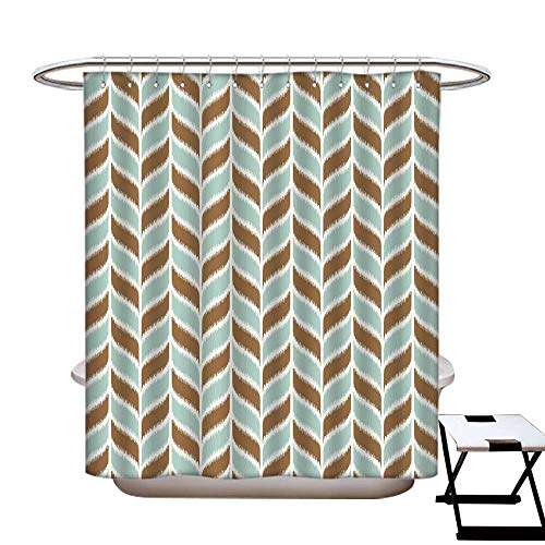 - Aqua Anti Bacterial Shower Curtain Liner Abstract Retro Grunge Vintage Tribal Braid Leaf Like Natural Image Shower Curtain with 12 Beaded Rings Brown White and Turquoise