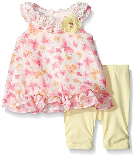 Set Floral Cotton Legging (Nannette Little Girls Floral Chiffon Bubble Legging Set, Off White/Yellow, 12 Months)