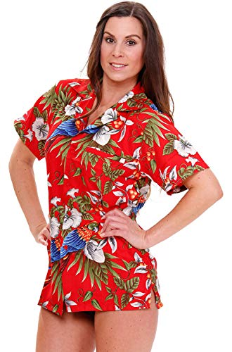 (V.H.O. Funky Hawaiian Blouse Shirt, Cherry Parrot, Red, XL)