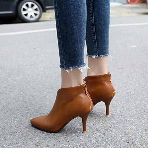 Pointed Carolbar Women's Ankle Dark Boots Grace Yellow Toe Zip Chic pOtWwrqO
