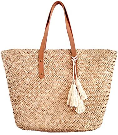 Straw Beach Tote Shoulder Bag Womens Large – Washable Lining Leather handle BEACH D