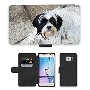 PU LEATHER case coque housse smartphone Flip bag Cover protection // M00134303 Perro de perrito negro de animales // Samsung Galaxy S6 (Not Fits S6 EDGE)
