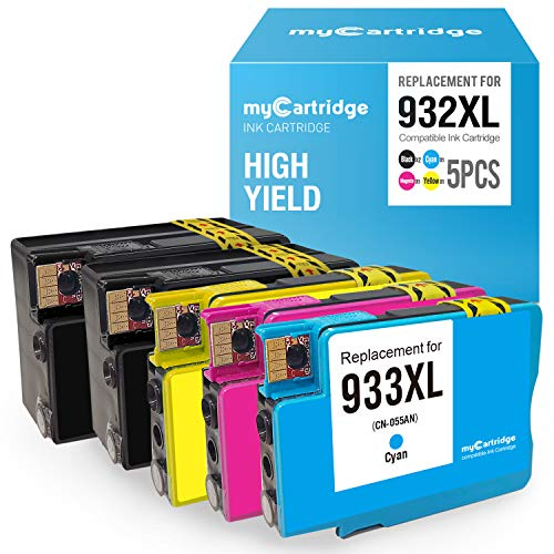 myCartridge Compatible Ink Cartridges Replacement for HP 932XL 933XL 932 XL 933 XL Combo Fit for Officejet 6600 6100 6700 7110 7610 7612 Printer (2 Black, 1 Cyan, 1 Magenta, 1 Yellow,5-Pack)
