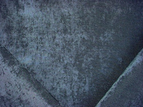 Crushed Chenille - 96RT10 - Luxurious Silvery Blue Peacock Plush Crushed Chenille Upholstery Drapery Fabric - By the Yard