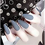 BloomingBoom 24 Pcs 12 Size Stiletto Pointed False Nail Matte Full Cover Fake Nail Press on Faux Ongle Salon Pre Design Women Claw Mountain Peak Mist Dark Grey Gray