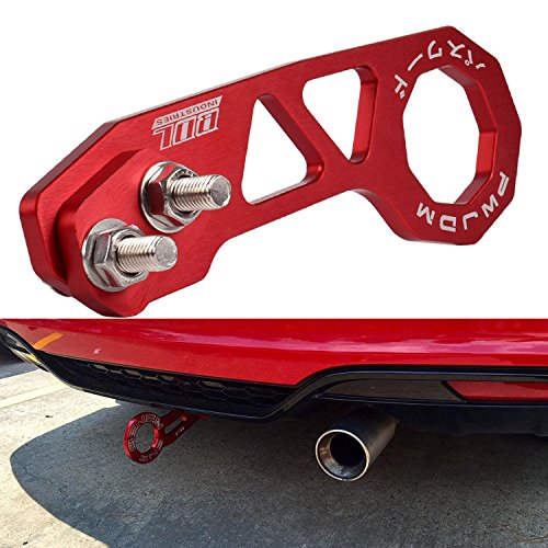 EIOU Rear Tow Towing Hook for Universal Car Auto Trailer Ring Aluminum Racing Trailer Hook—Red (Car Towing)