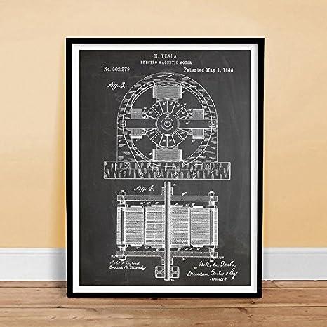 "TESLA 18x24/"" POSTER Electric Motor 1888 Patent Art Poster Print Inventor Genius"