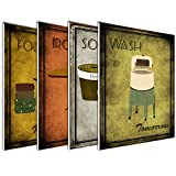 4-Pack of 8x10in Vintage Laundry Room Wall Art Decor Prints Printed on 3/16 Inch Matboard Ready to Hang