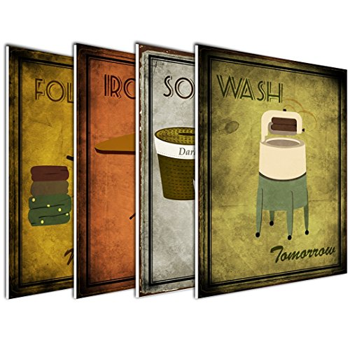 wallsthatspeak 4-Pack of 8x10in Vintage Laundry Room Wall Art Decor Prints Printed on 3/16 Inch Matboard Ready to Hang by wallsthatspeak