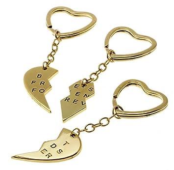 3 x Llavero con Colgante - Corazón Roto en 3 Pedazos ...