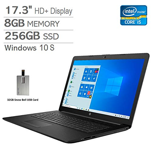 2020 HP Pavilion 17.3″ HD+ Laptop Computer, Intel Core i5-8265U Processor, 8GB RAM, 256GB PCIe SSD, Intel UHD Graphics 620, DVD-RW, HDMI, Webcam, Win 10 S, Black, 32GB Snow Bell USB Card