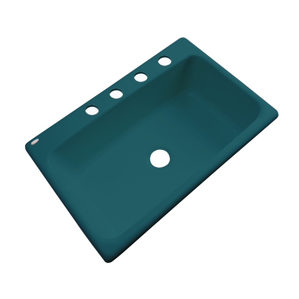 33 Teal Dekor Sinks 58441 Brookwood Single Bowl Cast Acrylic Kitchen Sink-4 Hole