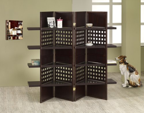 4-panel Wood Screen Room Divider with Display Shelf in Espresso