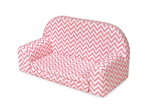 Upholstered Doll Sofa With Foldout Bed   Pink Chevron