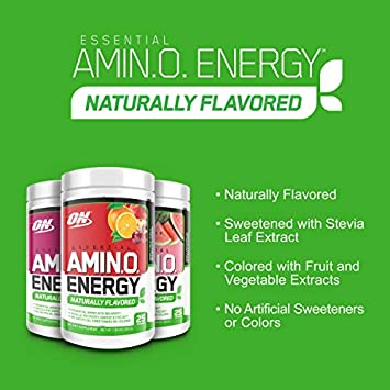OPTIMUM NUTRITION Naturally Flavored ESSENTIAL AMINO ENERGY, Simply Fruit Punch, Keto Friendly Preworkout and Essential Amino Acids with Green Tea and Green Coffee Extract, 25 Servings