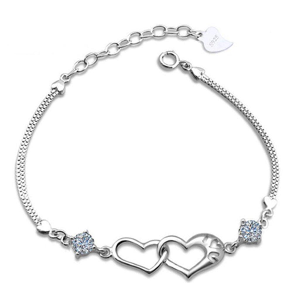 Cdet Bracelet en Bracelet en Argent en Forme de Coeur Heureux Bracelet Poignet en Argent pour Femme avec chaînette Mode élégante Filles Style Nouveau