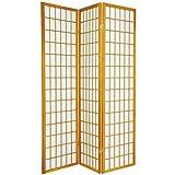 Oriental Furniture 6 ft. Tall Window Pane Shoji Screen - Honey - 3 Panels