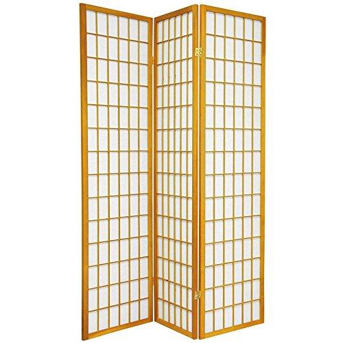 Reinforced Rice Paper (Oriental Furniture 6 ft. Tall Window Pane Shoji Screen - Honey - 3 Panels)