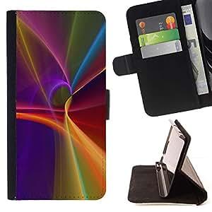 For Samsung Galaxy S5 Mini (Not S5), SM-G800 Case , Púrpura Líneas Resumen Flujo Luz- la tarjeta de Crédito Slots PU Funda de cuero Monedero caso cubierta de piel