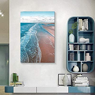 Canvas Wall Art Pink Sand Beach Wave Ocean Painting Artwork for Home Prints Framed - 32x48 inches