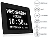 INNOCLOCK - Most Advanced - Superior Quality - Calendar Day Digital Clock - Large, Clear, Unabbreviated Time and Date - Ideal for Memory Loss, Impaired Vision and Seniors (Black, 8-inch)