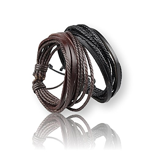 TobiNCraft Adjustable Multilayer Leather Bracelet - 2 Colors Brown and Black - Hand-Woven Rope - Cuff Leather bracelet For Men and - Woven Black Hand Leather