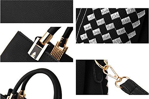 sac pour dames poignée Blanc Avec NUCLERL de broderie à tout sac Noir avec sac supérieure bandoulière bandoulière à Shopper Noir sac main Blanc à fourre sac SSOxnBA