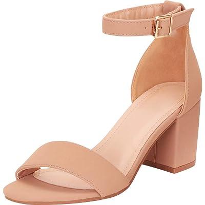 Cambridge Select Women's Classic Single Band Ankle Strap Block Mid Heel Sandal | Heeled Sandals