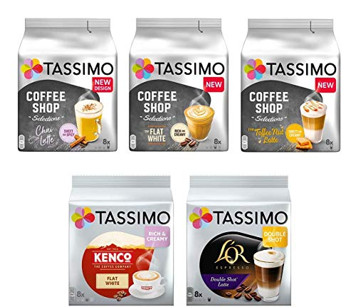 Tassimo Discover Bundle - Tassimo Coffee Shop Selections Chai Latte/Typ Flat White/Typ Toffee Nut-Latte, Kenco Flat White, L OR Double Shot Latte - 5 Paquetes (40 Porciones)