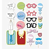 Bazaar 20Pcs Baby Shower Photo Booth Props Boys Girls Birthday Party Funny Decor With Sticks
