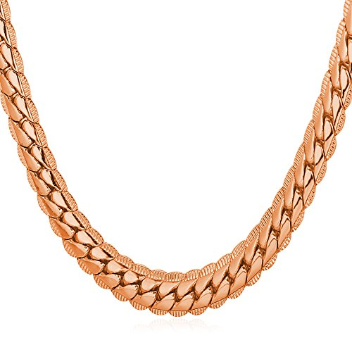 Unisex Rose Gold Plated Necklace 18K Stamp Jewelry By U7 6mm Wide Snake Chain 20 Inch (Necklace Snake Rose Gold)