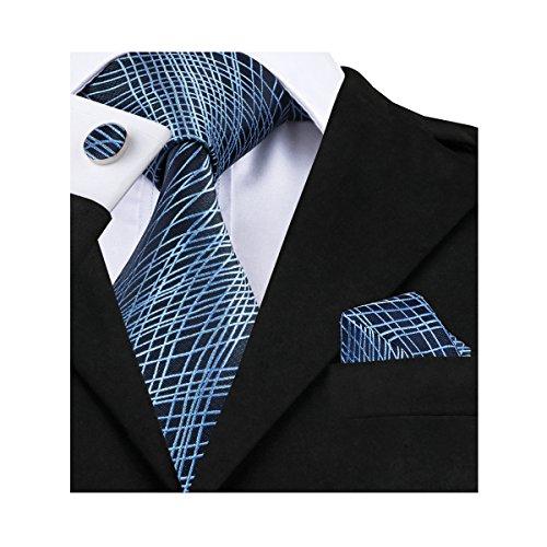 Gift Necktie (Barry.Wang Blue Tie Pocket Sqaure Cufflinks Set Novelty Ties)