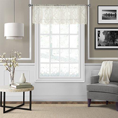 Elrene Home Fashions 21195IVR Montego Sheer Beaded Window Valance, 52