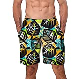 NUWFOR Men Casual 3D Graffiti Printed Beach Work Casual Men Short Trouser Shorts Pants(Multi Color,US:M Waist9.9-33.9'')