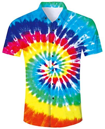 Mens Button Down Shirt Tie Dye Short Sleeve 2019 Rainbow Dress Shirts Summer Vacation Colorful Splatter Paint Tops Slim Fit T-Shirt Round Collar XL